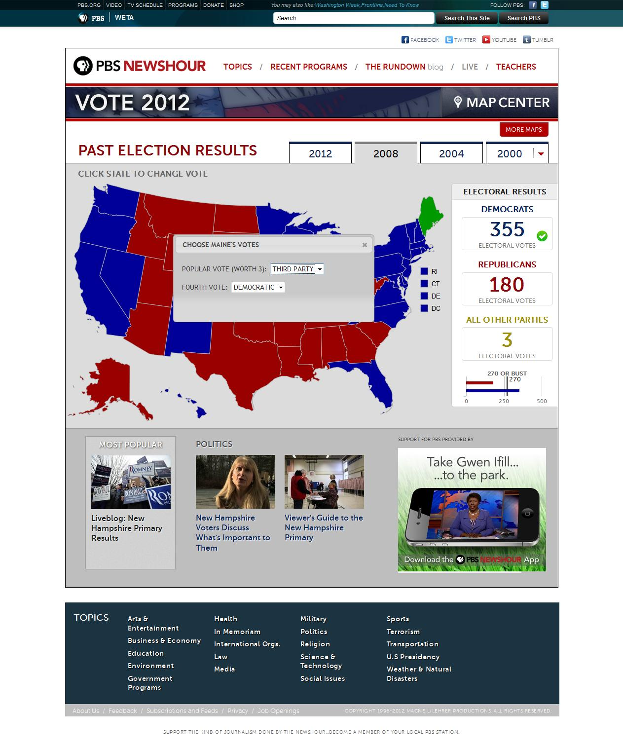 The Electoral College calculator includes general election results back to 1964 and allows users to make their own predictions about how 2012 will play out.