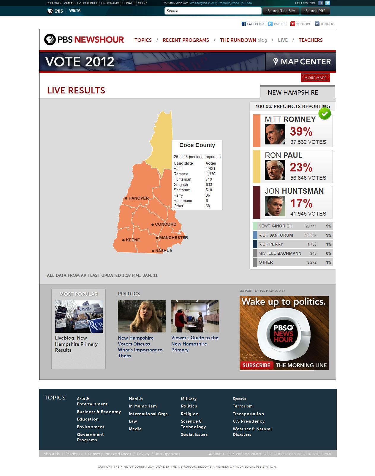The NewsHour used the Map Center for its live primary and caucus results online starting with Iowa's vote at the beginning of the year. Here's New Hampshire (the second contest), including an example of a county breakdown.