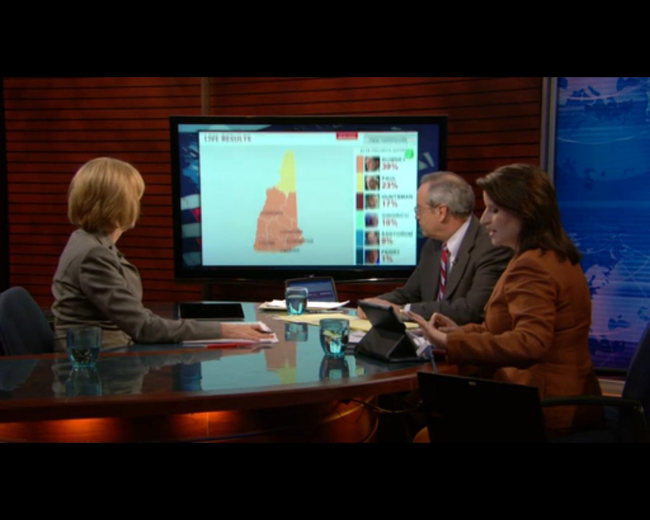 On air, the Map Center can appear on a monitor on the set, controlled by the iPad on the desk.