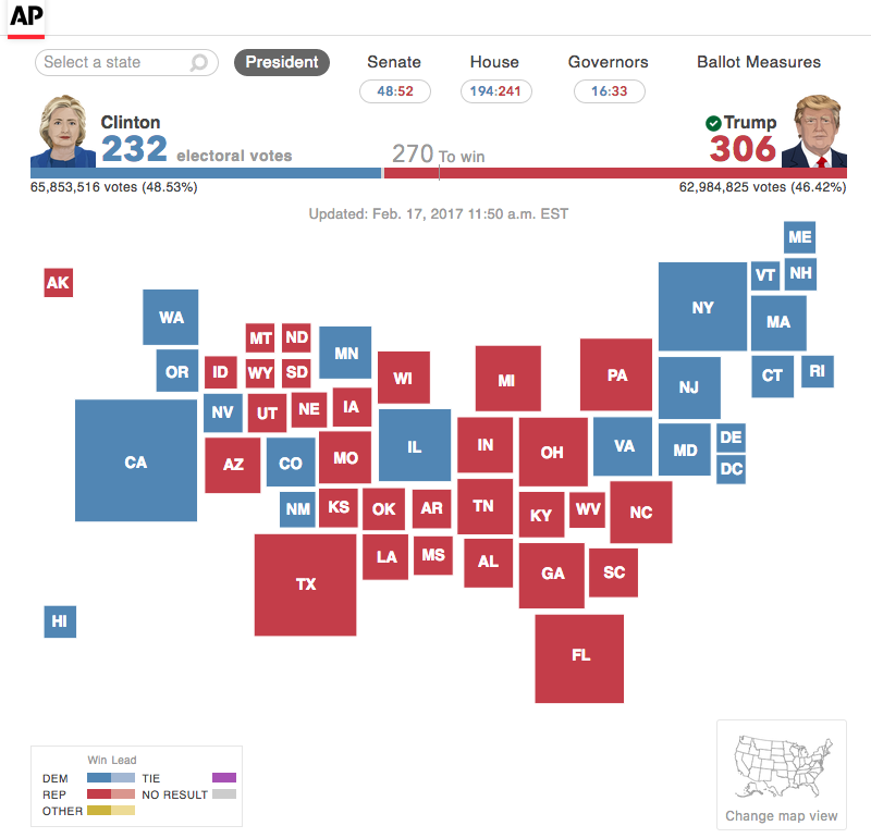 An interactive map showing presidential results for the 2016 general election.