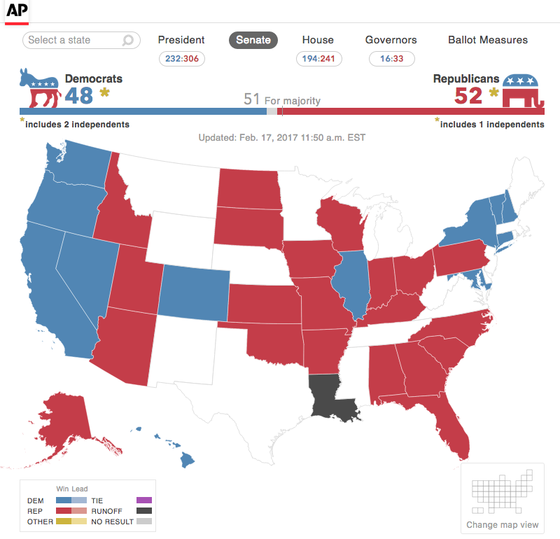A nationwide map of Senate results, including a runoff condition in Louisiana.
